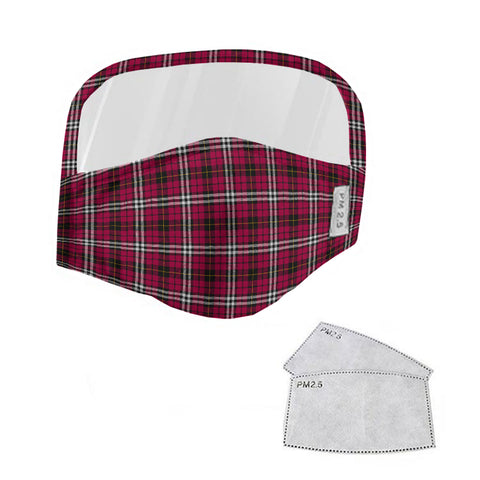 Little Tartan Face Mask With Eyes Shield - Pink  Plaid Mask TH8