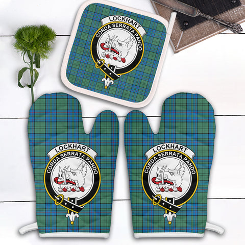 Lockhart Clan Crest Tartan Scotland Oven Mitt And Pot-Holder (Set Of Two)