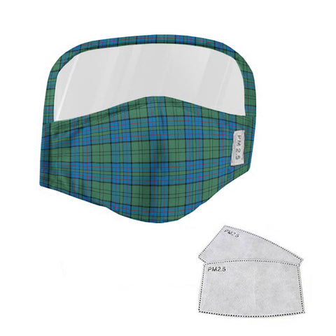 Lockhart Tartan Face Mask With Eyes Shield - Blue & Green  Plaid Mask TH8