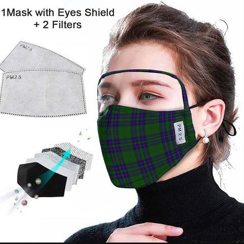 Lockhart Modern Tartan Face Mask With Eyes Shield - Green & Blue  Plaid Mask TH8