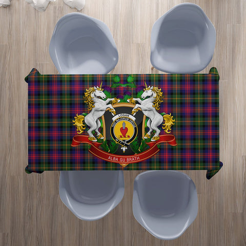 Logan Modern Crest Tartan Tablecloth Unicorn Thistle | Home Decor
