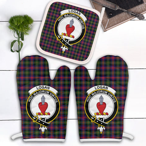 Logan Modern Clan Crest Tartan Scotland Oven Mitt And Pot-Holder (Set Of Two)