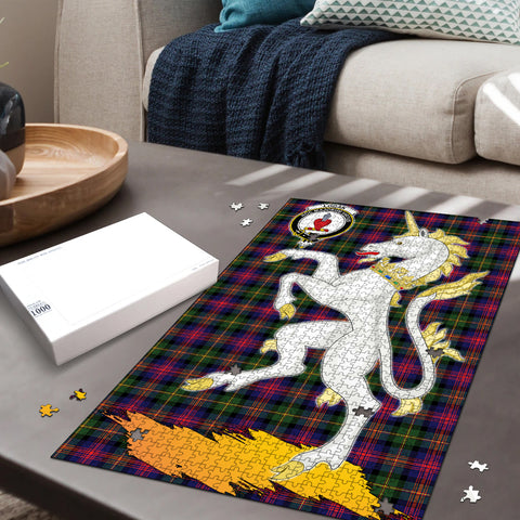Image of Logan Modern Clan Crest Tartan Unicorn Scotland Jigsaw Puzzle