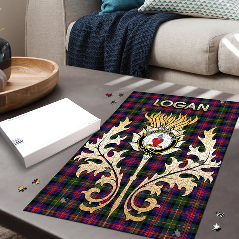 Image of Logan Modern Clan Name Crest Tartan Thistle Scotland Jigsaw Puzzle