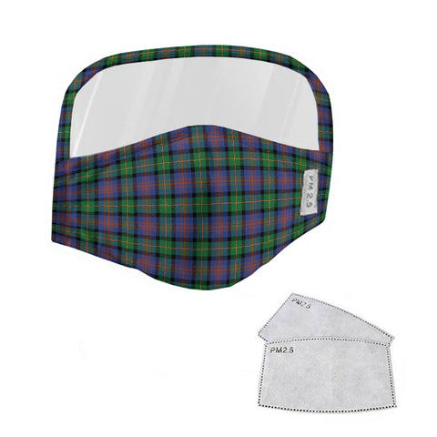 Logan Ancient Tartan Face Mask With Eyes Shield - Blue & Green  Plaid Mask TH8