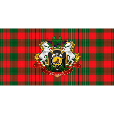 Image of MacAulay Modern Crest Tartan Tablecloth Unicorn Thistle A30