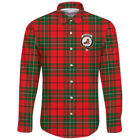 Image of MacAulay Modern Tartan Clan Long Sleeve Button Shirt | Scottish Clan