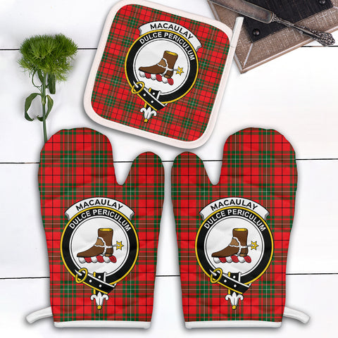 Image of MacAulay Modern Clan Crest Tartan Scotland Oven Mitt And Pot-Holder (Set Of Two)