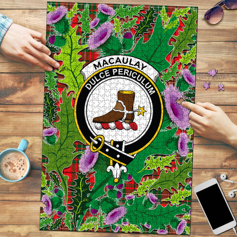 Image of MacAulay Modern Clan Crest Tartan Thistle Pattern Scotland Jigsaw Puzzle