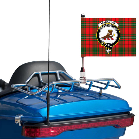 Image of MacAulay Modern Clan Crest Tartan Motorcycle Flag