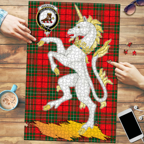Image of MacAulay Modern Clan Crest Tartan Unicorn Scotland Jigsaw Puzzle