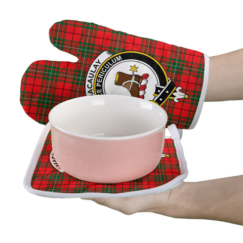 MacAulay Modern Clan Crest Tartan Scotland Oven Mitt And Pot-Holder (Set Of Two)