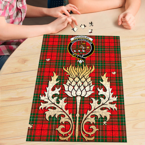 Image of MacAulay Modern Clan Crest Tartan Thistle Gold Jigsaw Puzzle