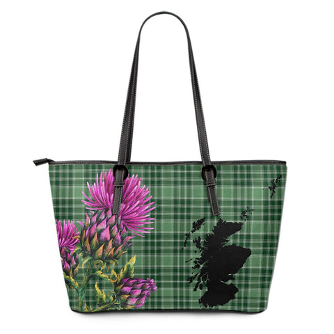 MacDonald Lord of the Isles Hunting Tartan Leather Tote Bag Thistle Scotland Maps A91