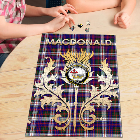 Image of MacDonald Dress Modern Clan Name Crest Tartan Thistle Scotland Jigsaw Puzzle