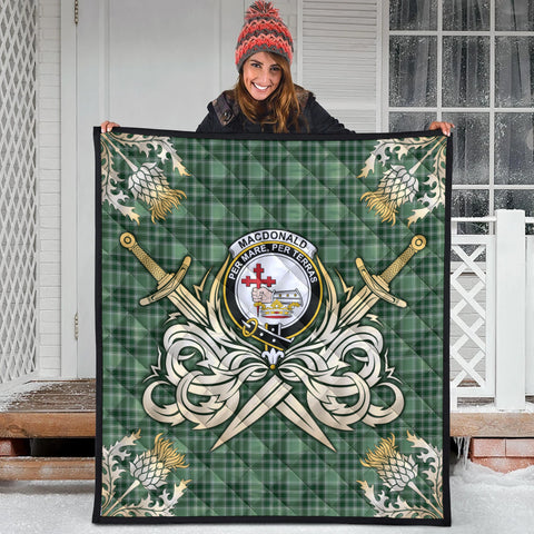 MacDonald Lord of the Isles Hunting Clan Crest Tartan Scotland Thistle Symbol Gold Royal Premium Quilt