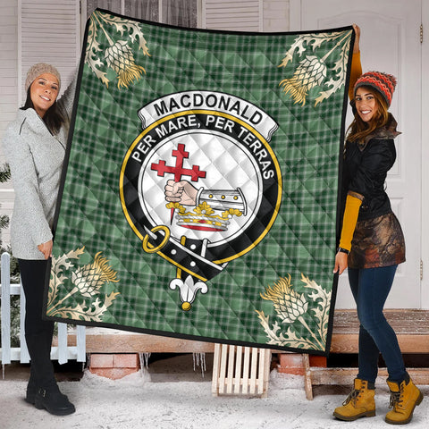 MacDonald Lord of the Isles Hunting Clan Crest Tartan Scotland Thistle Gold Pattern Premium Quilt K9