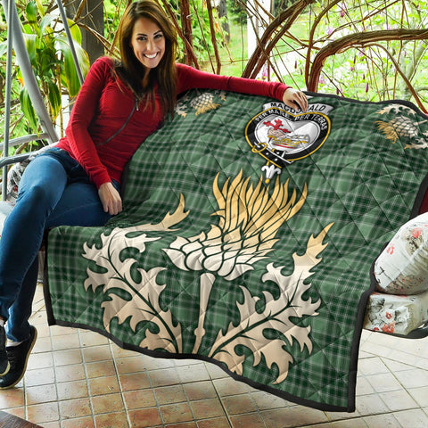 MacDonald Lord of the Isles Hunting Clan Crest Tartan Scotland Thistle Gold Royal Premium Quilt K9