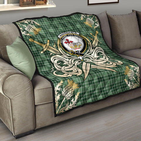 MacDonald Lord of the Isles Hunting Clan Crest Tartan Scotland Thistle Symbol Gold Royal Premium Quilt K9
