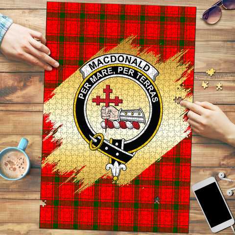Image of MacDonald of Sleat Clan Crest Tartan Jigsaw Puzzle Gold
