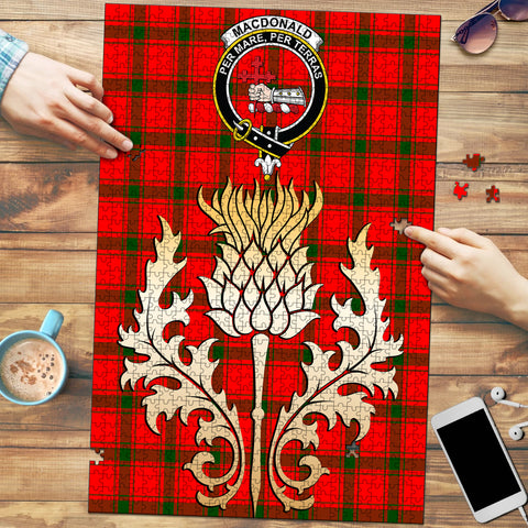 MacDonald of Sleat Clan Crest Tartan Thistle Gold Jigsaw Puzzle