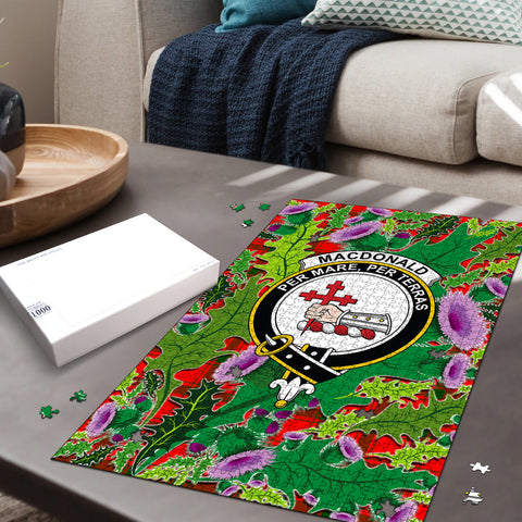 Image of MacDonald of Sleat Clan Crest Tartan Thistle Pattern Scotland Jigsaw Puzzle