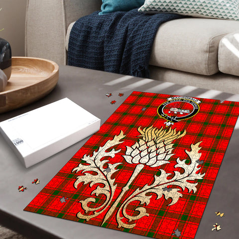 Image of MacDonald of Sleat Clan Crest Tartan Thistle Gold Jigsaw Puzzle