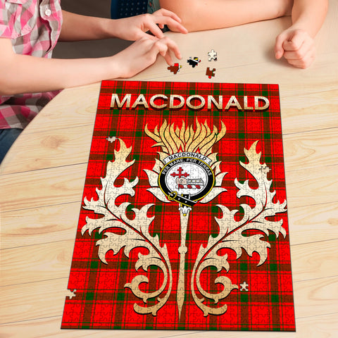 Image of MacDonald of Sleat Clan Name Crest Tartan Thistle Scotland Jigsaw Puzzle