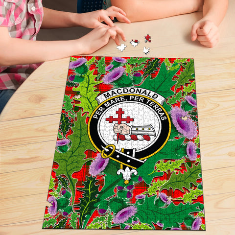 MacDonald of Sleat Clan Crest Tartan Thistle Pattern Scotland Jigsaw Puzzle
