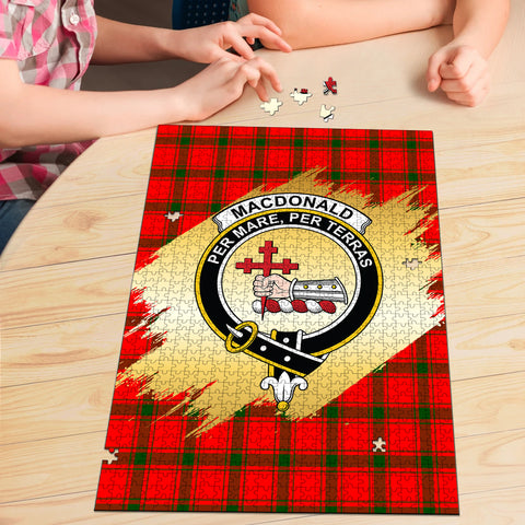 MacDonald of Sleat Clan Crest Tartan Jigsaw Puzzle Gold