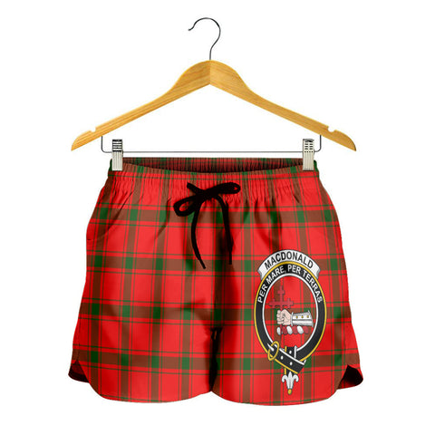 Image of MacDonald of Sleat Crest Tartan Shorts For Women K7