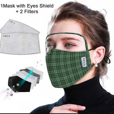 MacDonald Lord of the Isles Hunting Tartan Face Mask With Eyes Shield - Green  Plaid Mask TH8