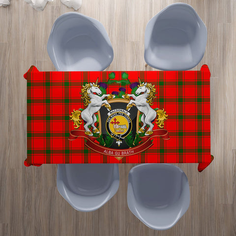 Image of MacDonald of Sleat Crest Tartan Tablecloth Unicorn Thistle | Home Decor