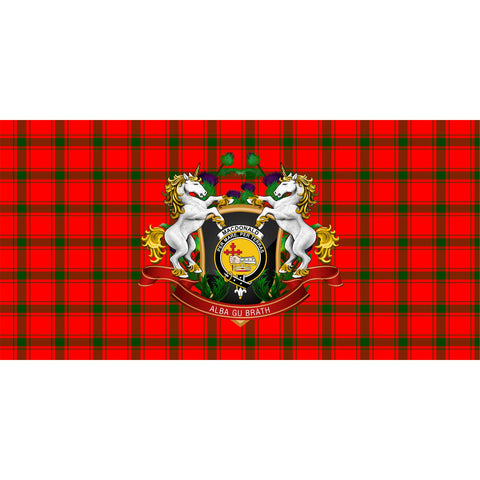 Image of MacDonald of Sleat Crest Tartan Tablecloth Unicorn Thistle A30