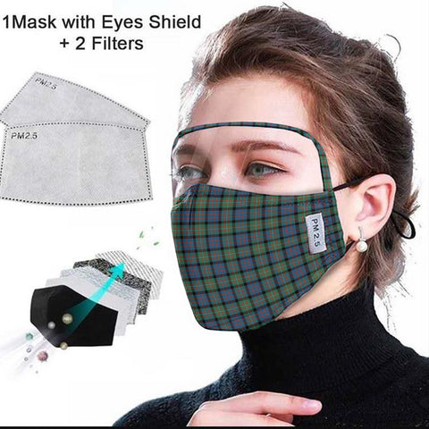 MacDonnell of Glengarry Ancient Tartan Face Mask With Eyes Shield - Green & Blue  Plaid Mask TH8