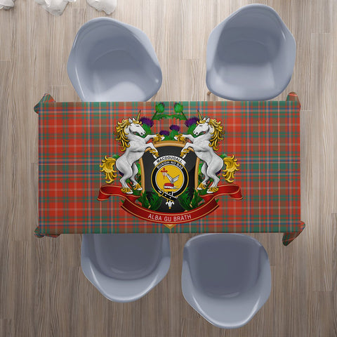 MacDougall Ancient Crest Tartan Tablecloth Unicorn Thistle | Home Decor