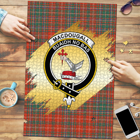 Image of MacDougall Ancient Clan Crest Tartan Jigsaw Puzzle Gold