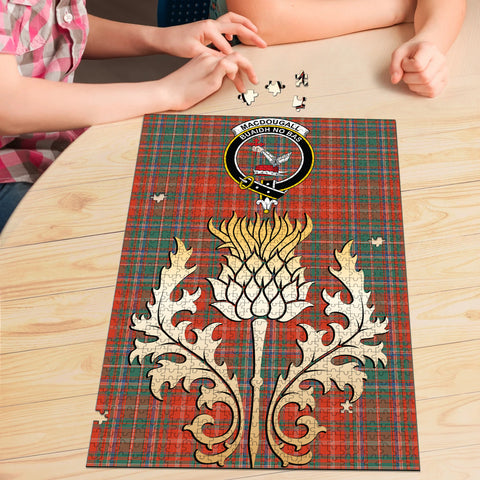 Image of MacDougall Ancient Clan Crest Tartan Thistle Gold Jigsaw Puzzle