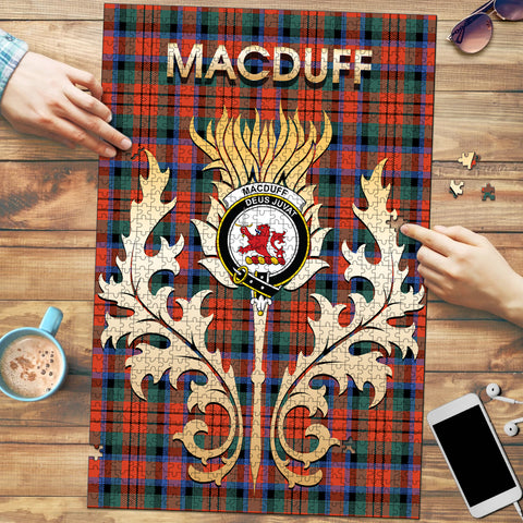 Image of MacDuff Ancient Clan Name Crest Tartan Thistle Scotland Jigsaw Puzzle