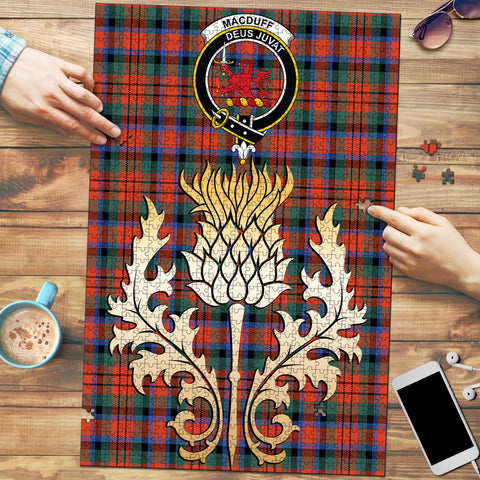 Image of MacDuff Ancient Clan Crest Tartan Thistle Gold Jigsaw Puzzle