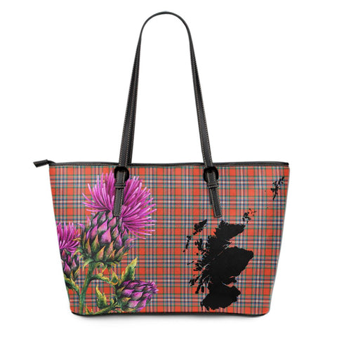 MacFarlane Ancient Tartan Leather Tote Bag Thistle Scotland Maps A91