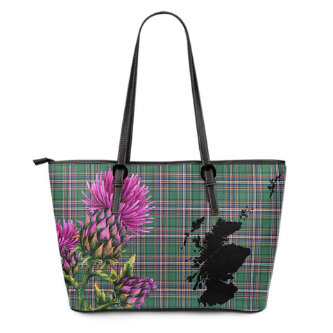 MacFarlane Hunting Ancient Tartan Leather Tote Bag Thistle Scotland Maps A91