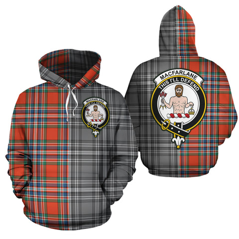 MacFarlane Ancient Clan Half Of Me New Version Crest Tartan Hoodie