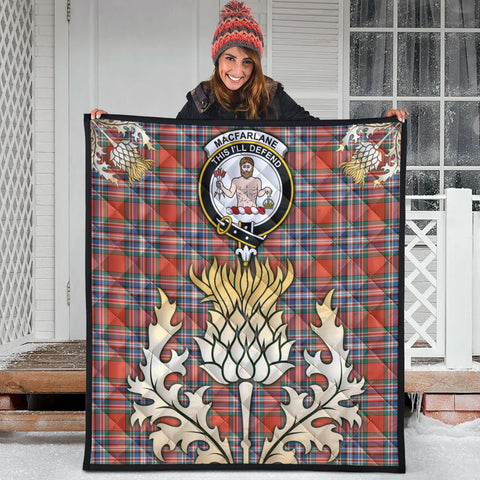 MacFarlane Ancient Clan Crest Tartan Scotland Thistle Gold Royal Premium Quilt