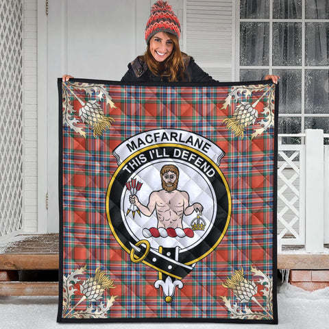 MacFarlane Ancient Clan Crest Tartan Scotland Thistle Gold Pattern Premium Quilt