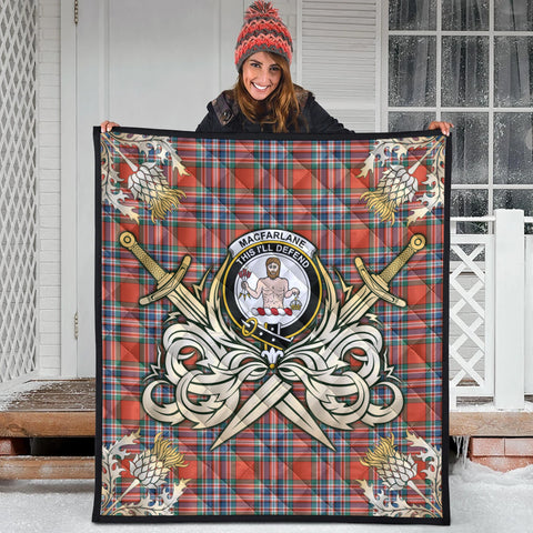 MacFarlane Ancient Clan Crest Tartan Scotland Thistle Symbol Gold Royal Premium Quilt