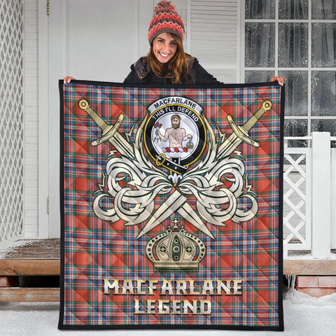 MacFarlane Ancient Clan Crest Tartan Scotland Clan Legend Gold Royal Premium Quilt