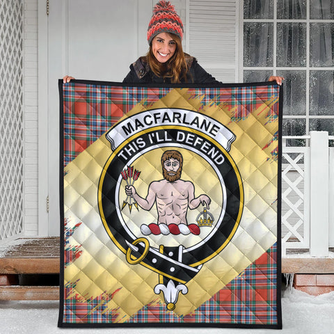 MacFarlane Ancient Clan Crest Tartan Scotland Gold Royal Premium Quilt