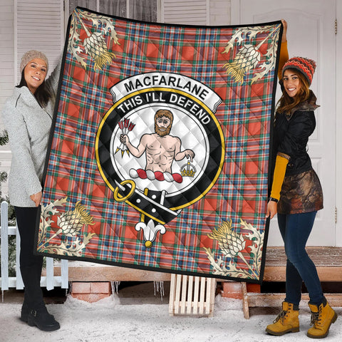 Image of MacFarlane Ancient Clan Crest Tartan Scotland Thistle Gold Pattern Premium Quilt K9