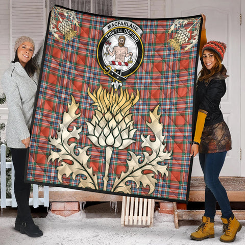 MacFarlane Ancient Clan Crest Tartan Scotland Thistle Gold Royal Premium Quilt K9